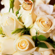 Stock Photo: Ring on wedding bouquet