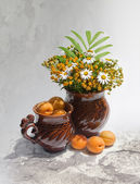 Still-life with apricots — Stock Photo