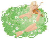 Woman with violin — Stock Vector
