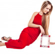 Sexy the woman in a red dress — Stock Photo