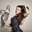 The girl with the fan — Stock Photo