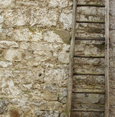 Vintage wooden ladder in front of an old stone wall — Stock Photo