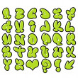 Funny green bubble font graffiti alphabet — Foto Stock