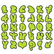 Funny green bubble font graffiti alphabet - 图库照片