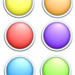 3d render of 6 round rainbow colored buttons — Stock Photo