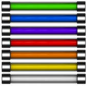 3d render of rainbow colored download button bar — Stock Photo