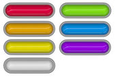7 glossy 3d tubes in different colors embedded in white — Stockfoto