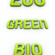 The word green , eco and bio in 3d glossy fonts — Stock Photo