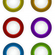 6 round 3d techno reflective colored button icons — Stock Photo #4612065