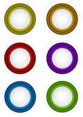 6 round 3d techno reflective colored button icons — Stock Photo