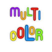 The words multi color in glossy 3d fonts — Stock Photo