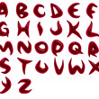 3d render of blood red alphabet fonts — Stock Photo