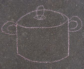 Cooking pot drawn with pink chalk on pavement in the city — Stock Photo