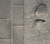 Sidewalk with foot-step embedded in concrete — Stock Photo