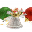Stock Photo: Christmas decorations on white, isolated