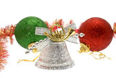 Christmas decorations on white, isolated — Stock Photo