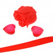 Stock Photo: Red hearts and rose
