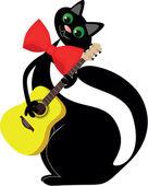 In love black cat — Stock Vector