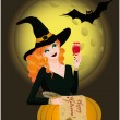 Royalty-Free Stock Vector Image: Happy Halloween greeting card with  beautiful witch. vector