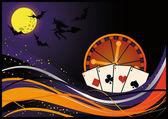 Casino halloween card, vector — Stock Vector