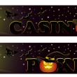 Set Casino halloween banners, vector - 图库矢量图片