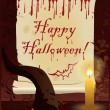 Happy Halloween greeting card. vector - Stockvectorbeeld