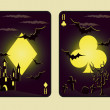 Set Halloween poker cards, vector — Stock Vector