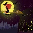 Halloween night card. Girl witch fly over city . vector — Stock Vector