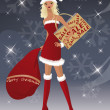 Santa-girl at christmas shopping season, vector - Stock Vector