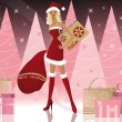Santa-girl with shopping bags, vector — Stock Vector