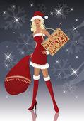 Santa-girl at christmas shopping season, vector — Stock Vector