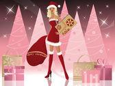 Santa-girl with shopping bags, vector — Stock Vector