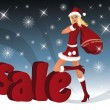 Christmas sale card with Santa-girl. — Cтоковый вектор