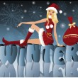 Christmas Santa girl  , vector — Stock Vector #3999769