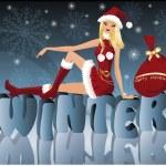 Christmas Santa girl , vector — Stock Vector