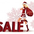 Stock Vector: Santa-girl and word SALE in 3D image. vector