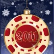 Royalty-Free Stock Vector Image: Christmas poker chip 2011 new year. vector