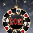 Christmas casino card, poker chip 2011 new year. vector — Stock Vector
