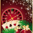 Casino Christmas greeting card with roulette-clock and balls. vector — Stock Vector