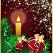 Royalty-Free Stock Vector Image: Christmas greeting card with candle and xmas balls. vector