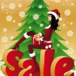 Christmas sale card. Santa-girl with gift. vector — Stock Vector
