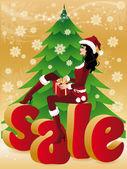 Christmas sale card. Santa-girl with gift. vector — Stock Vector