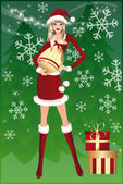 Christmas shopping. Santa-girl and bag. vector — Vecteur