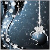 Blue christmas card, vector illustration — Stock Vector