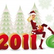Santa girl changing 2010 for new year 2011. vector - Stock Vector