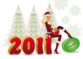 サンタガール 2010 新しい 2011 年を変更します。ベクトル — ストックベクタ
