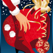 Christmas card. Santa girl with gift. vector illustration — Stock Vector