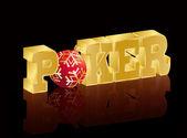 Banner de navidad de póquer. ilustración vectorial — Vector de stock