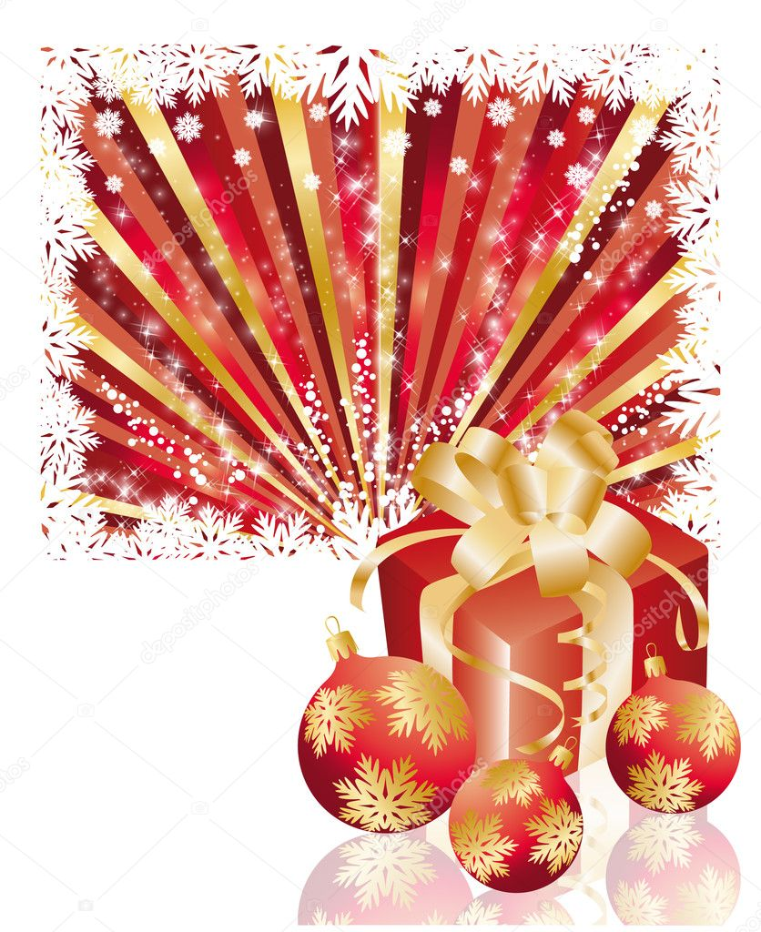 Christmas illustration with gift box and red balls, vector — Stock Vector #4161444
