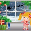 Christmas story, Little girl looks out of the window on Santa Claus. vector — 图库矢量图片